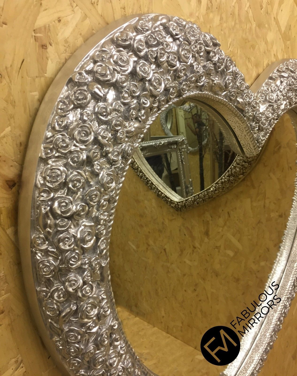 X Large Bright Silver Chrome Heart Mirror Stunning Ornate